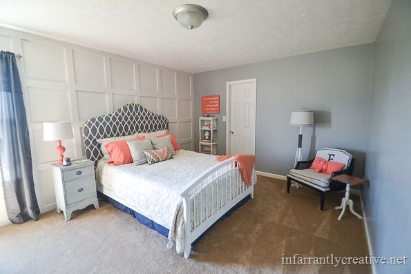 coral and gray decor