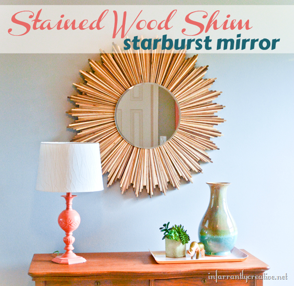 stained wood shim starburst mirror