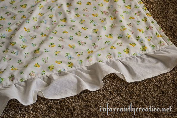 vintage sheet with ruffle
