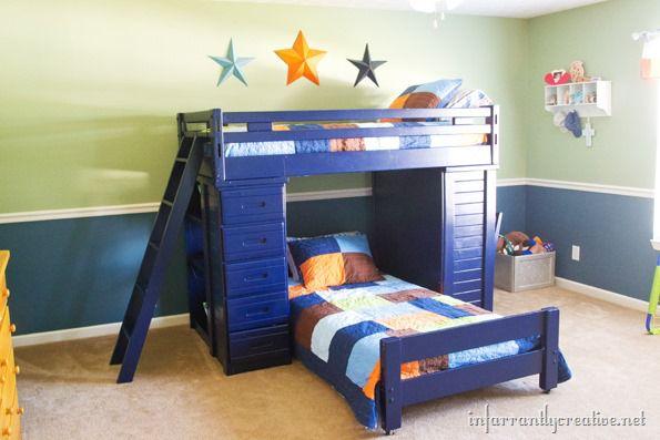 Great boys bedroom navy blue bunkbeds