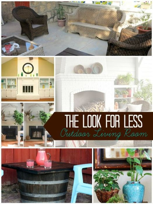Outdoor living room collage