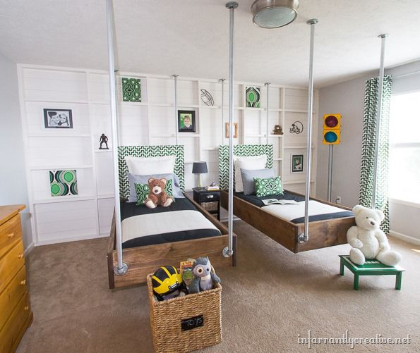 gray and green bedrom