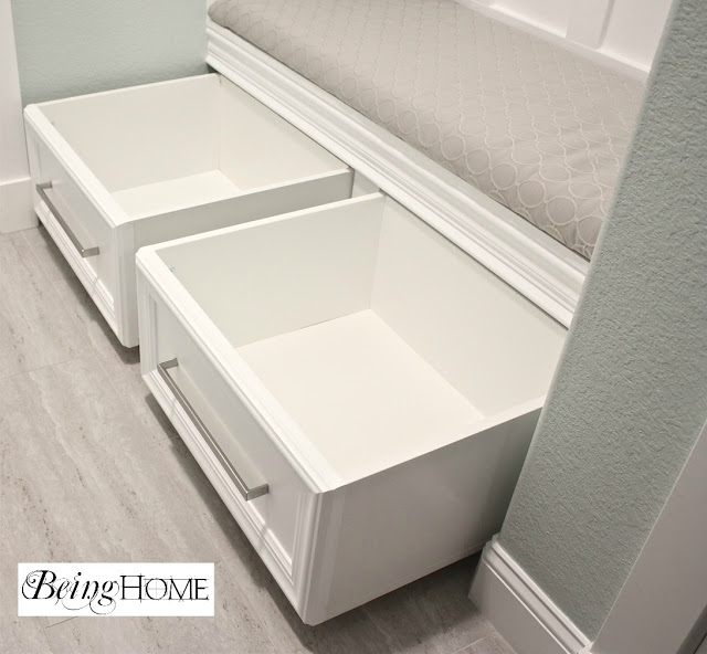 Being Home roll out drawers in mudroom bench