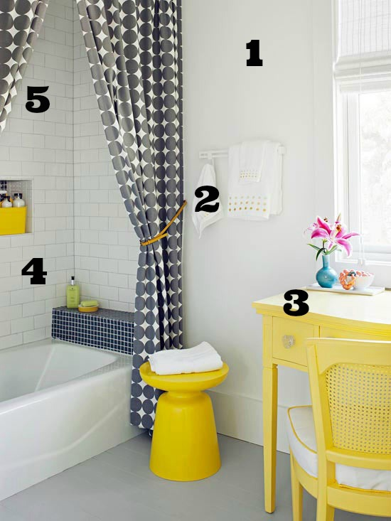 Better Homes and Gardens gray and yellow bath numbered