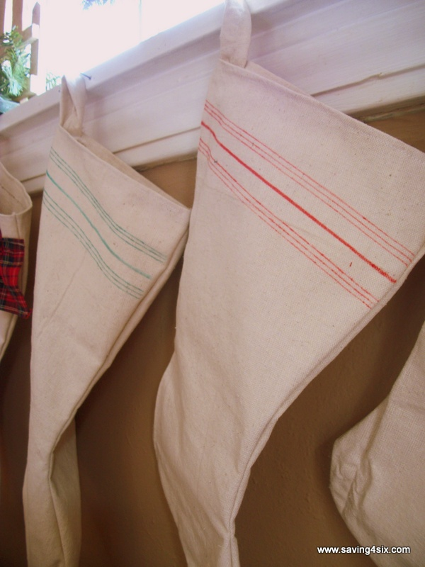 Saving 4 Six faux grain sack stockings 2