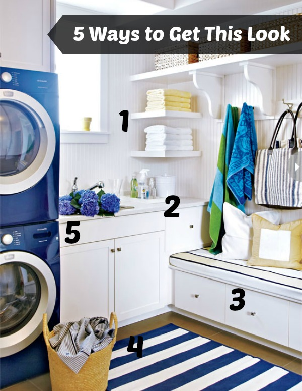 Style at Home blue and white laundry room numbered
