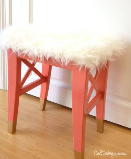 Cre8tive Designs coral gold stool