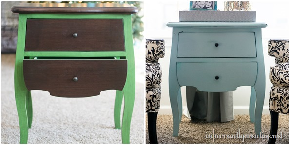 before and after chalk painted end table