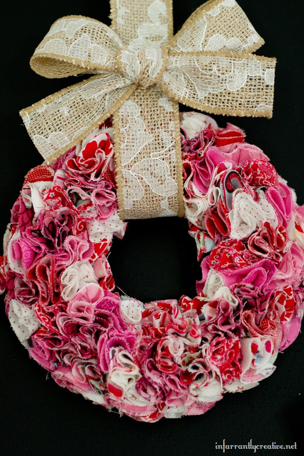 valentine's day fabric wreath