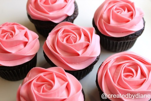 Created By Diane frosted rose on cupcake tutorial