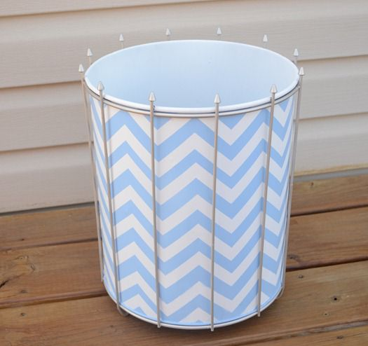 painted chevron trash can makeover
