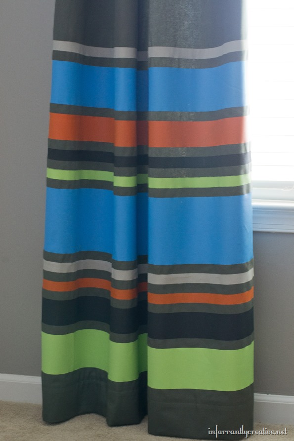 painting stripes on curtains diy