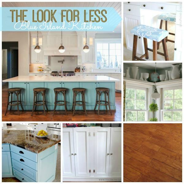Superb blue island kitchen collage