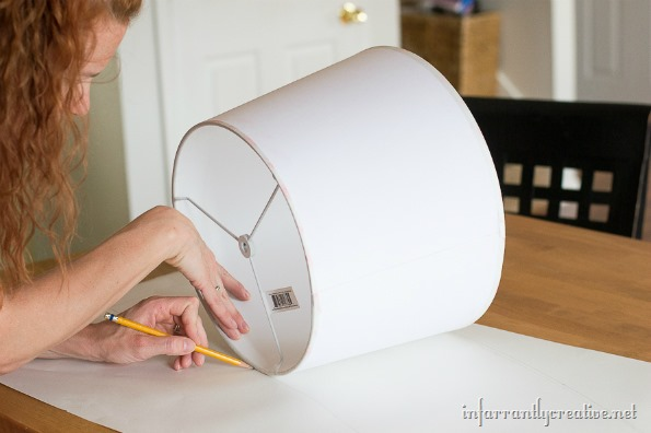 recover a lampshade with arrow fabric infarrantly creative