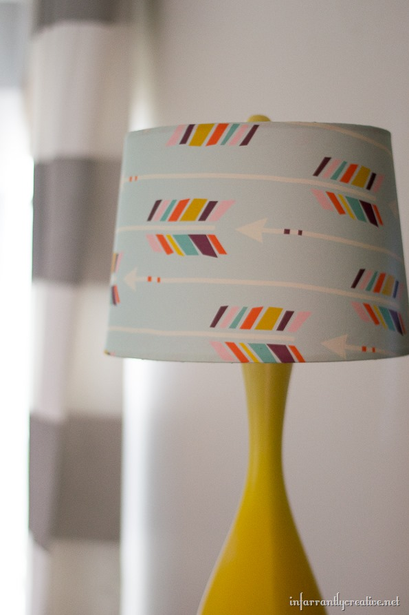 recovered lampshade with fabric
