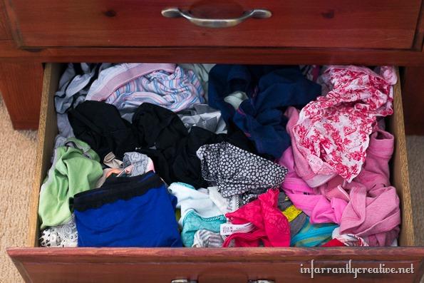 unorganized underwear drawer