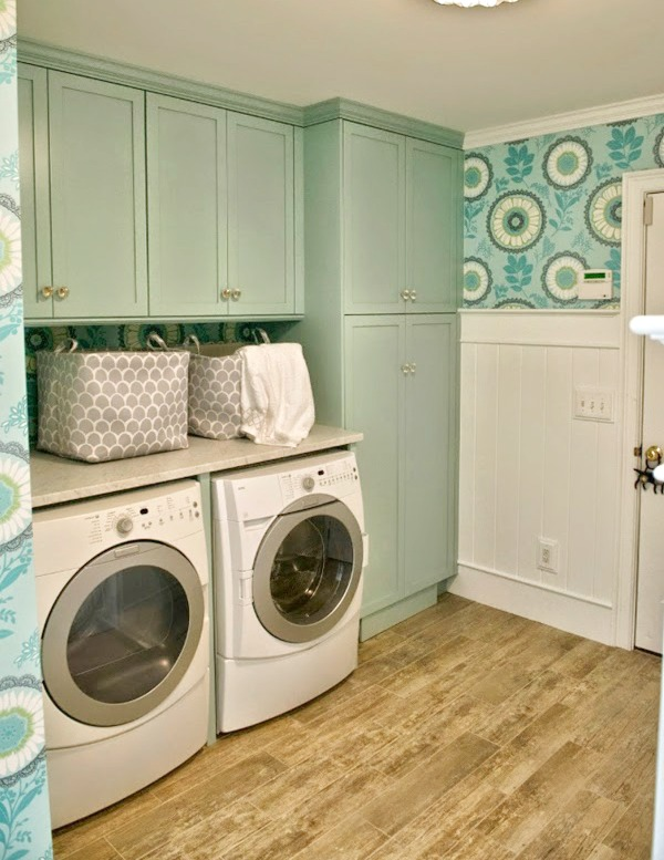 turquoise laundry room