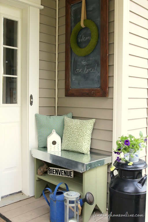 bench with galvanized top
