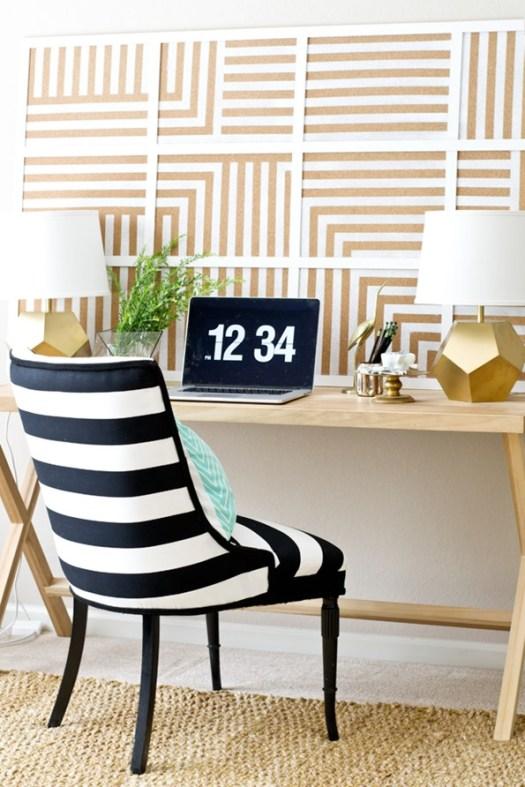 DIY Oversized Striped Corkboard