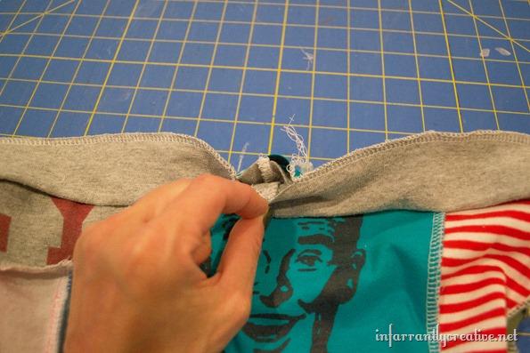 waistband of t-shirt shorts