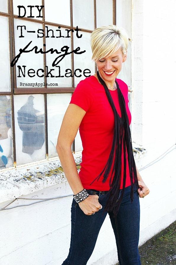 DIY Fringe tee shirt necklace