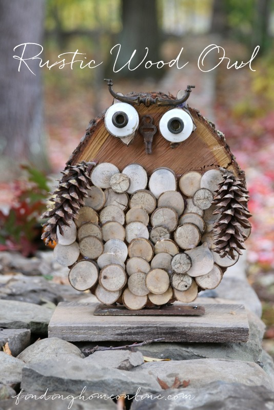 Upcyled Rustic Wood Owl