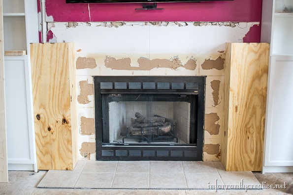 Family Room Makeover Part 2: Framing Out the Fireplace - Infarrantly Creative