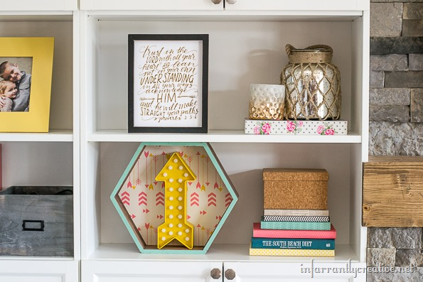 decorated bookshelves
