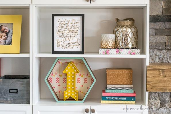 decorated bookshelves