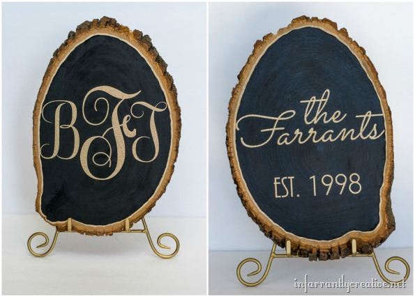 glittered gold wood slice