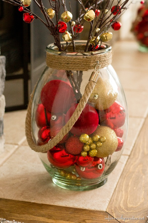 christmas jar with ornaments