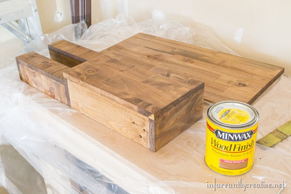 stained wood wall organizer