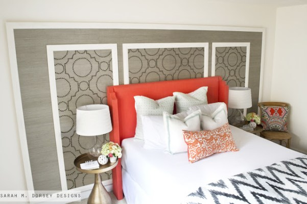Grasscloth-nailhead-paneled-wall