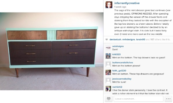mint green stained dresser
