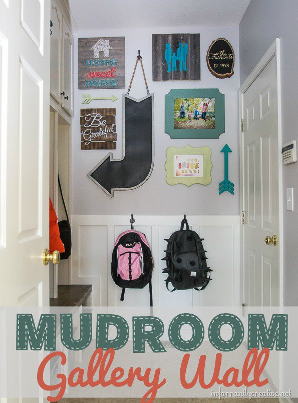 Mudroom Gallery Wall made with Custom DIY Art