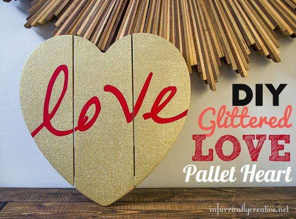 DIY Crafts  Glittered Love Pallet Heart