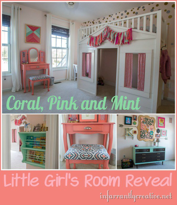 DIY HOME DECOR  Coral Mint and Pink Little Girl