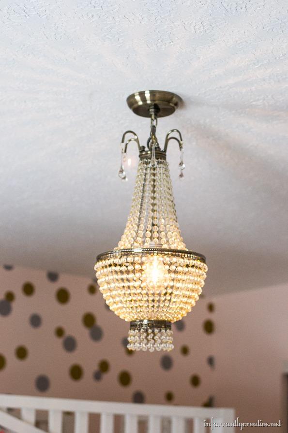 beaded chandelier lit