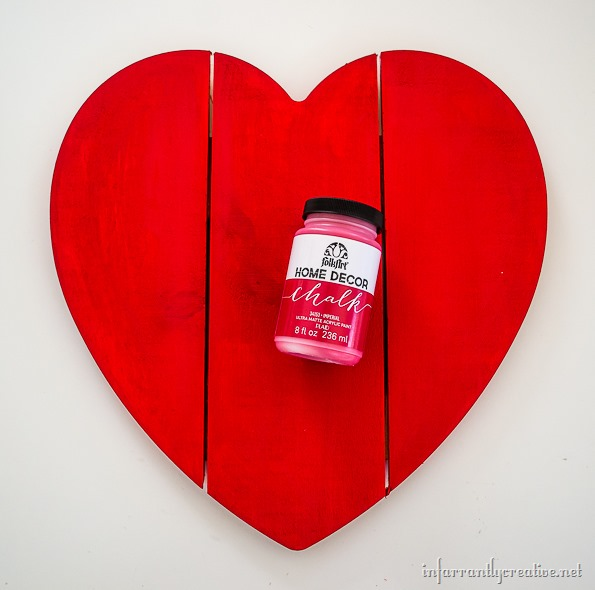 red painted wood heart