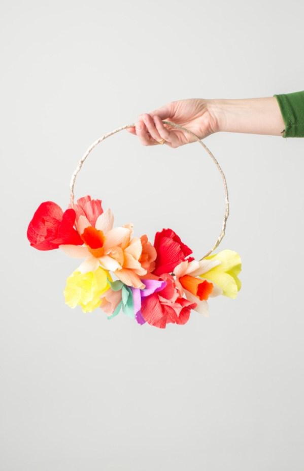 crepe-paper-rainbow-flower-wreath