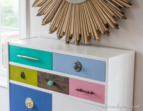 multi colored dresser drawers
