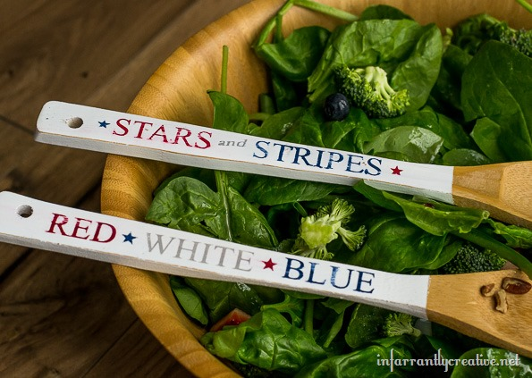 serving ware red white blue