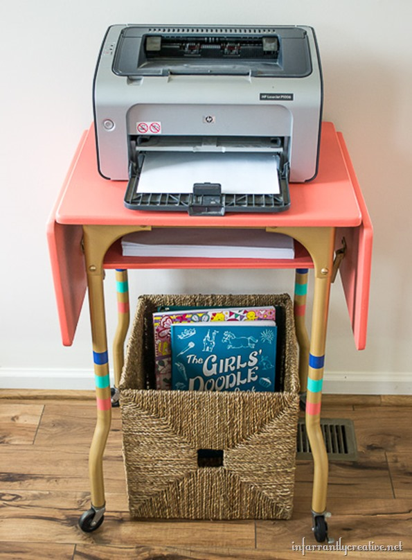 coral and gold typewriter table