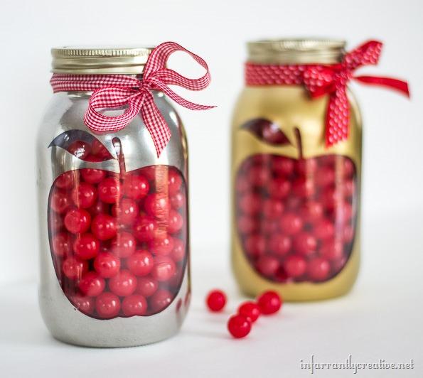 mason jar with apple
