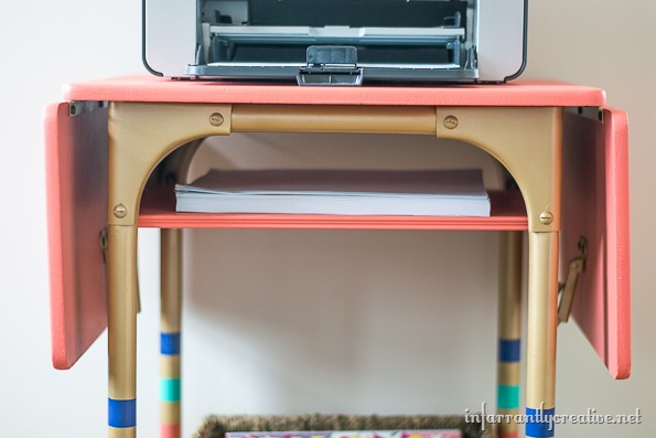 typewriter table with shelf
