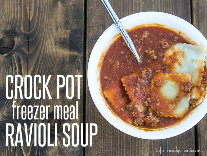 FOOD  Crockpot freezer meal ravioli soup that everyone in your family will love