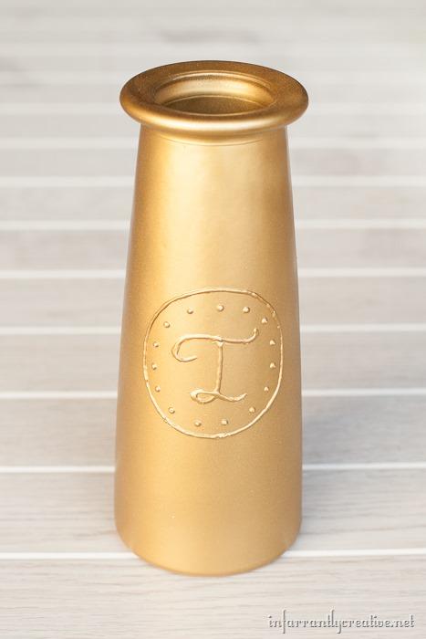 tall monogram vase
