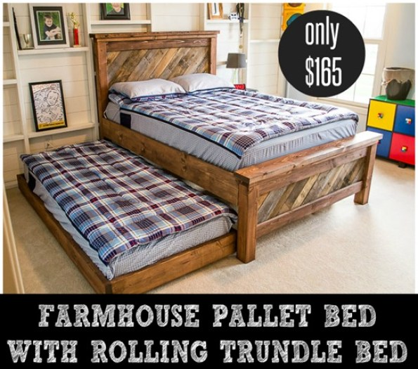 Farmhouse Pallet Bed with Rolling Trundle Bed