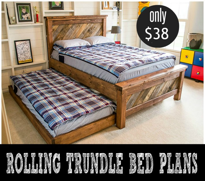 Farmhouse Pallet Bed with Rolling Trundle Bed Plans