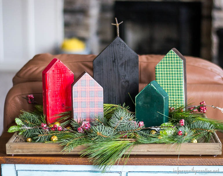 christmas village made from scrap wood